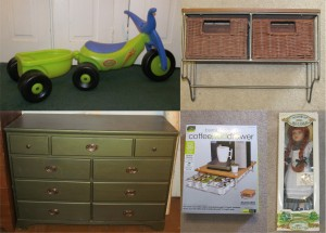 Clockwise from top left: a riding toy, a shelf with baskets, a doll, a drawer to hold coffee pods and a dresser.