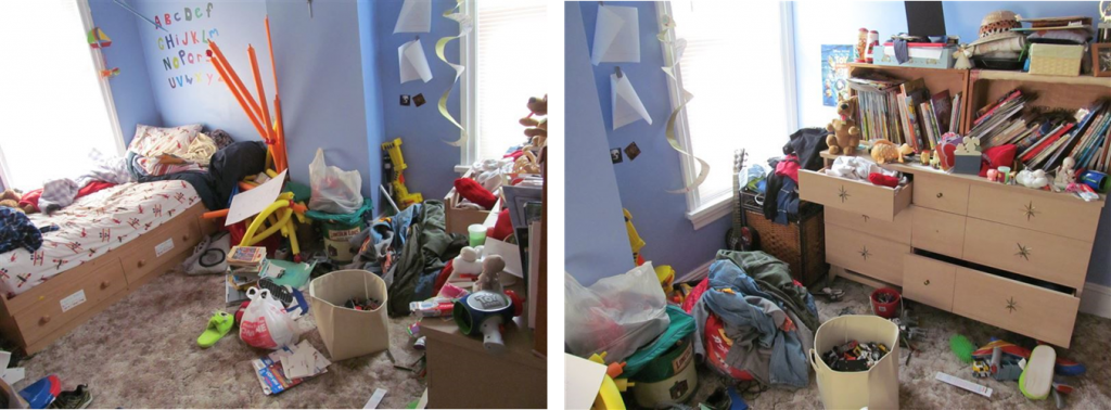 Before Shot of one room- Yes- we actually let our child's room get this messy!