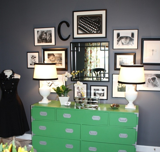 Gallery Wall with white mats and mismatched black frames.