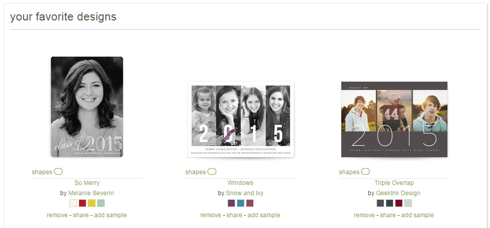 A screenshot of a few of my favorite cards (so far!) on Minted.com