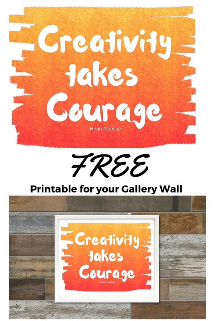 "Free printable for your gallery wall ""Creativity takes Courage"" quote on calmandcollected.us/blog"