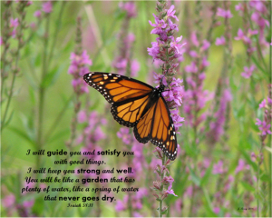 FREEBIE FRIDAY- Free Print-Monarch Butterfly on purple flowers with scripture Isaiah 58:11