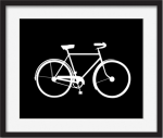 White bike on black background printable