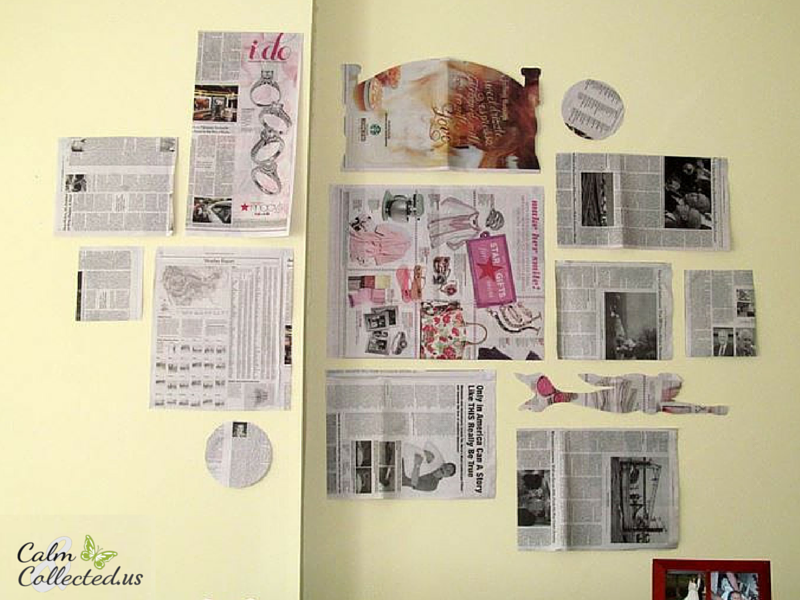 Gallery Wall layout made with newsprint