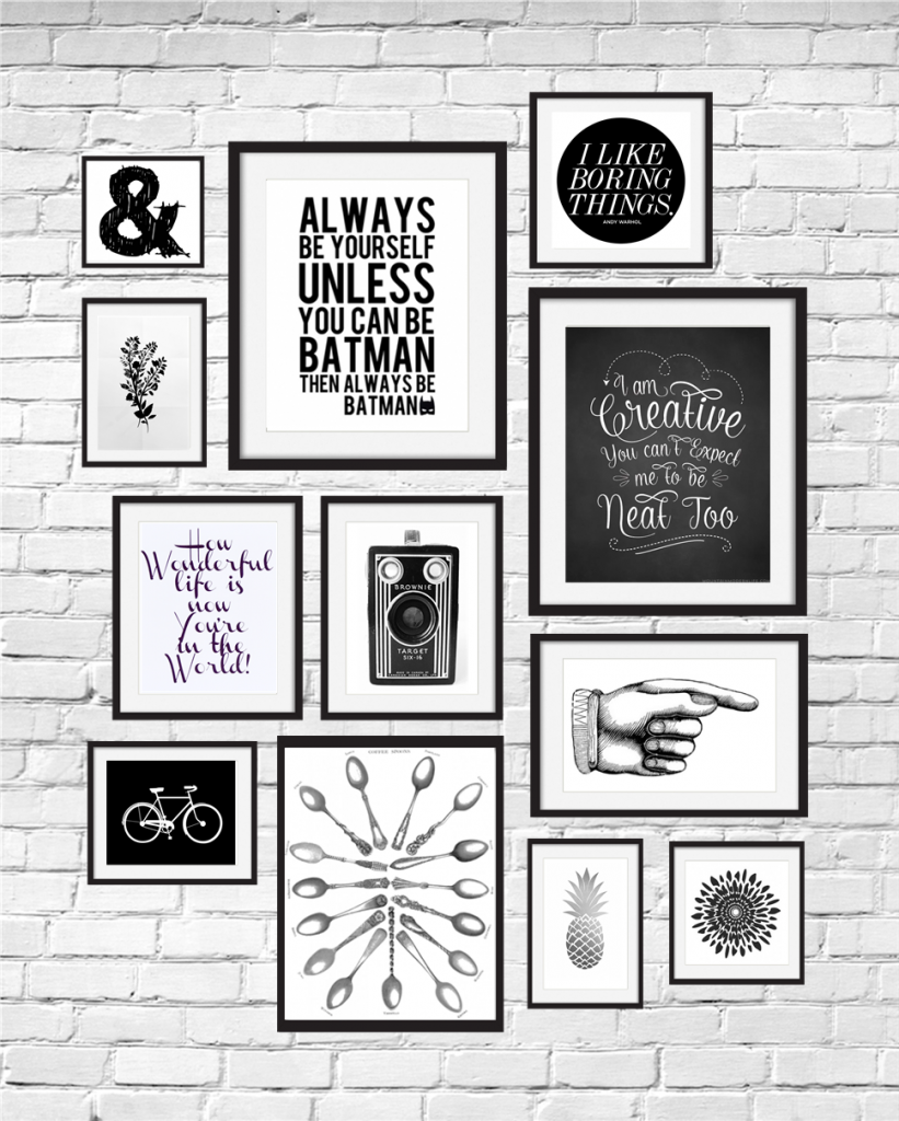 A gallery wall of 12 black and white printables curated by CalmandCollected.us