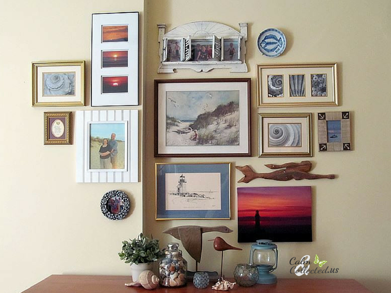 Create a Gallery Wall in 6 easy steps all by yourself! All items on this wall and dresser have a beach theme. Calmandcollected.us