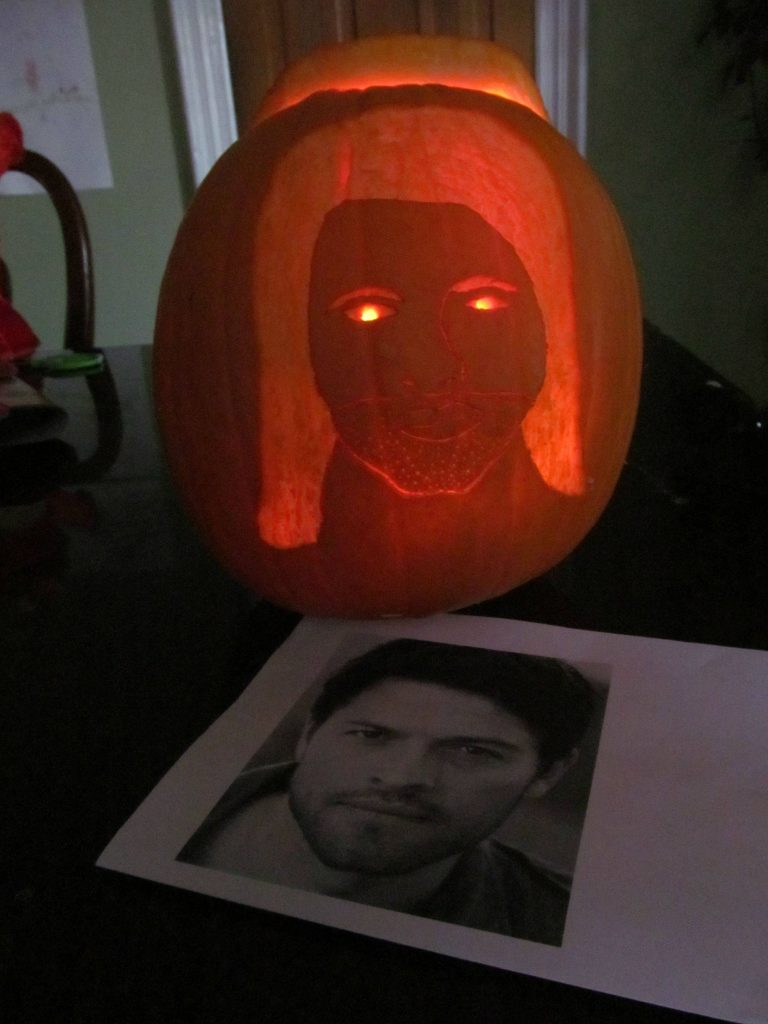 G.I.S.H.W.H.E.S. Carve a pumpkin to look like a female version of Misha Collins-the host of G.I.S.H.W.H.E.S.