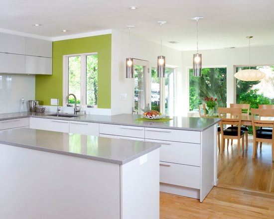 Fabulous White Kitchen Lime Green Accent Bethesda Contemporary Home
