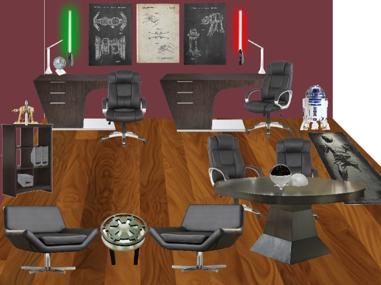 """Dark side"" Design concept for a Star Wars themed Home office for adults! designed by Jennifer Terry of Calm & Collected"