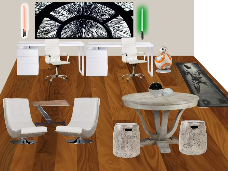 """Light side"" Design concept for a Star Wars themed Home office for adults! designed by Jennifer Terry of Calm & Collected"